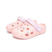 abc童鞋夏季儿童拖鞋女童凉鞋中小童时尚印花洞洞鞋 粉色 24