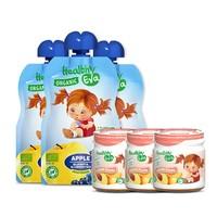 Healthy Eva 健康爱娃 宝宝无添加辅食果泥 蓝莓90g*3袋+桃子90g*3罐