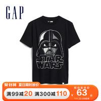 Gap男童短袖T恤499494夏季新款洋气童装纯棉上衣 黑色 110cm(110cm(XS))