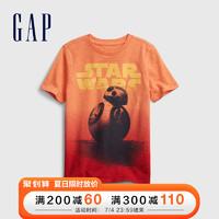 Gap男童纯棉T恤682096 2021夏季新款童装短袖 橙色 110cm(110cm(XS))