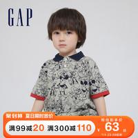 Gap男幼童纯棉短袖POLO衫669935 2021夏季新款童装 浅麻灰 90cm(90cm(2岁))