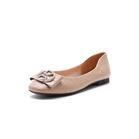 BeLLE 百丽 2021春新商场同款石头纹羊皮革女套脚平跟浅口休闲单鞋
