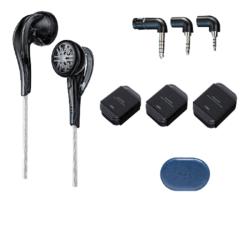 FiiO 飞傲 EM5 平头塞动圈有线耳机 黑色 3.5mm 可换插头x3 低频 均衡 通透 海绵套 x18 HB3 收纳包 套装