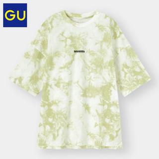 GU 极优 男装宽松T恤(5分袖)(扎染)优衣库姐妹品牌潮流棉T恤333819