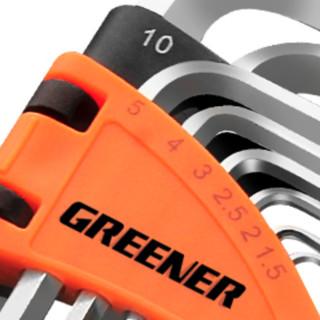 GREENER 绿林 内六角扳手套装 9件套 电镀标准花型