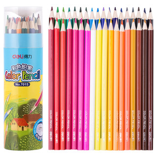 deli 得力 24色绘画艺术写生彩铅彩色铅笔 桶装 包装颜色随机7014
