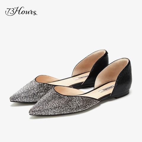 73hours 高跟73小时 73Hours女鞋Dora2021春夏新款尖头浅口水钻仙女风平底奥赛单鞋