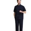 君帝尼 男士中老年短袖长裤套装 LKDXTZ 吉祥刺绣 藏青色 39/170