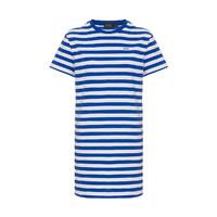 RALPH LAUREN/拉尔夫·劳伦 舒适条纹休闲运动圆领短袖连衣裙211732501 蓝白条纹 XS