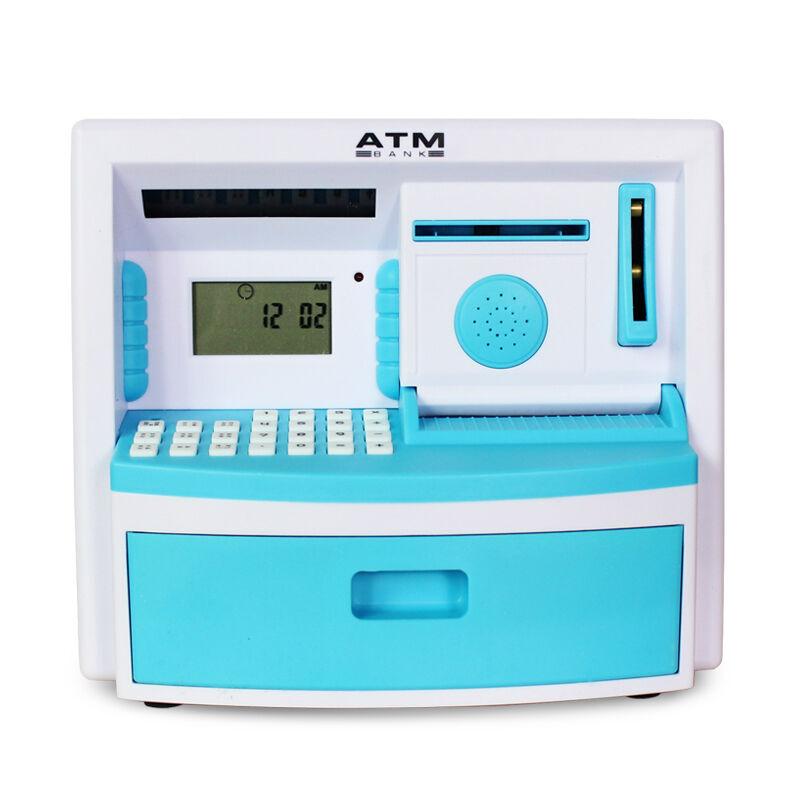 爱奇礼 儿童智能存钱罐 手动存钱电池款 蓝色