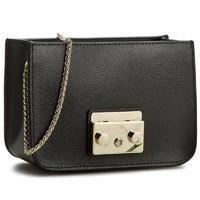 Furla Black Metropolis Chain Foldover Crossbody Bag