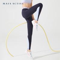 MaiaActive BASIC 紧身弹力收腰跑步训练健身裤瑜伽运动裤女 神秘黑 S