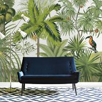 OXICO 东南亚无纺布壁画热带植物森林客厅沙发餐厅卧室墙纸 丛林