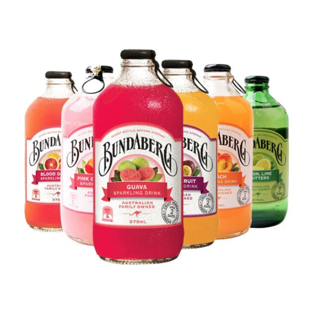 BUNDABERG 宾得宝 澳洲原装进口 宾得宝(Bundaberg)含气饮料 进口汽水果啤碳酸饮料混合装375ml*6瓶7个口味随机发货