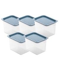 洪客 厨房冰箱食物收纳盒 无手柄 1100ml*5个