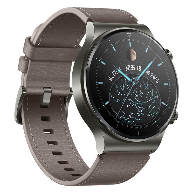 HUAWEI 华为 WATCH GT 2 Pro 时尚款 智能手表 46mm 灰色表盘 星云灰皮革表带(血氧、GPS、扬声器、温度计)