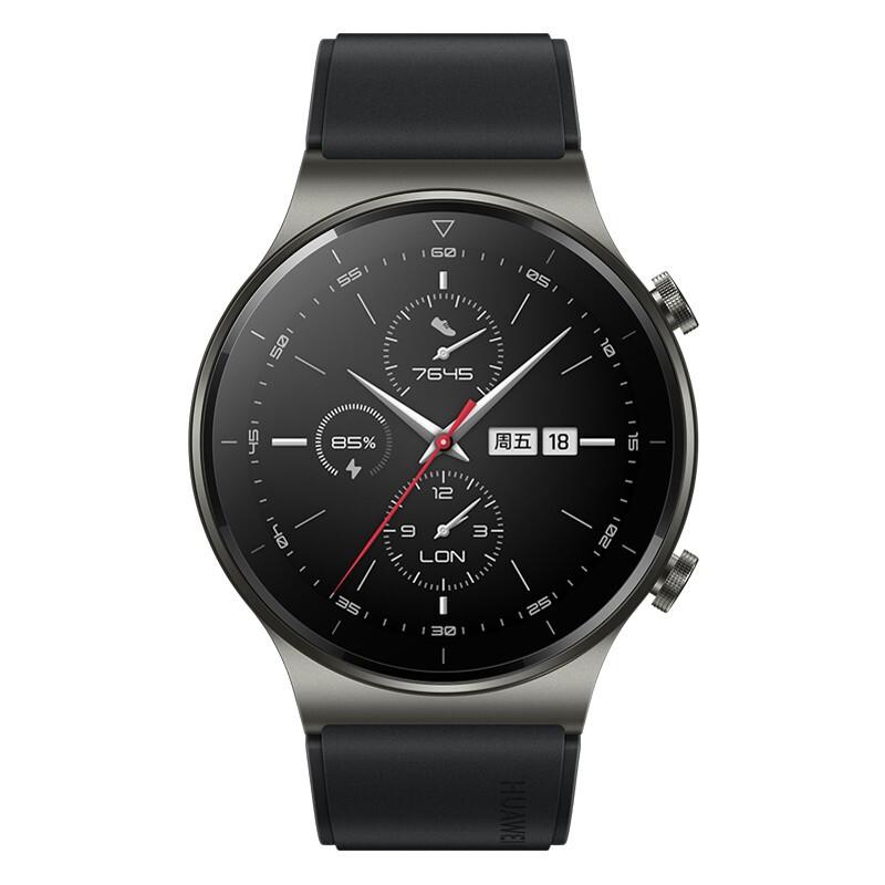 HUAWEI 华为 WATCH GT 2 Pro 运动款 智能手表 46mm 银灰色表盘 黑色硅胶表带(血氧、GPS、扬声器、温度计)