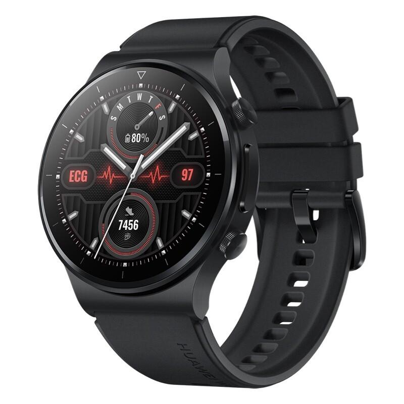 HUAWEI 华为 WATCH GT 2 Pro ECG款 智能手表 46mm 曜石黑表盘 黑色橡胶表带(ECG、血氧、GPS、扬声器、温度计)