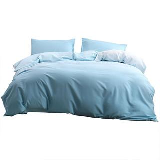 MERCURY 水星家纺 床上四件套纯棉被套床单枕套床上用品双人被罩套件 简·青律 1.8米床(适配220*240被芯)