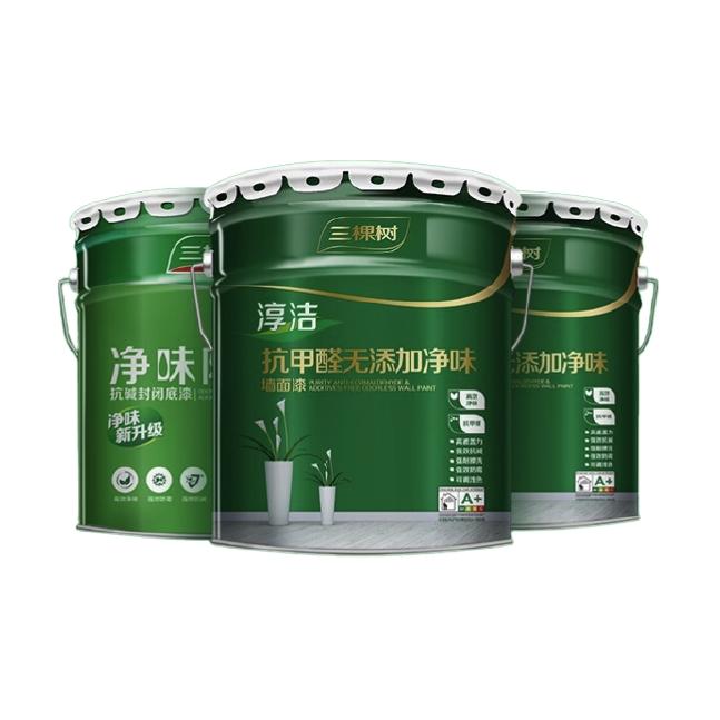 3Trees 三棵树 乳胶漆淳洁抗甲醛无添加五合一面漆室内自刷涂料墙面漆油漆套装 可涂墙210㎡3遍:面漆15L*2+底漆20kg