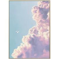 海龙红 现代简约北欧小清新客厅装饰画《恋空-B》43×60cm 天空水彩云艺术画风景粉色系挂画