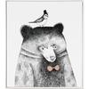 仟象映画 清新北欧客厅装饰画《鸟儿与熊》50×60cm 现代简约餐厅动物挂画 儿童卧室壁画