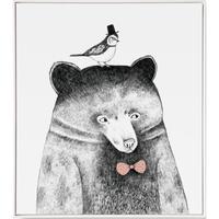 仟象映画 清新北欧客厅装饰画《鸟儿与熊》50×60cm 油画布 浅木色实木框 儿童卧室壁画
