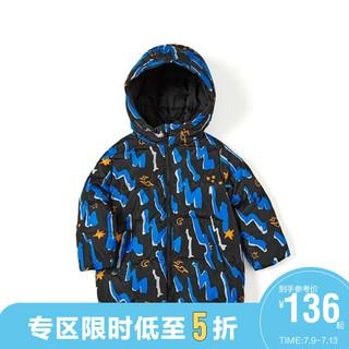 balabala 巴拉巴拉 儿童羽绒服男童冬装外套宝宝童装中长款外套满印 黑黄色调0393 90cm