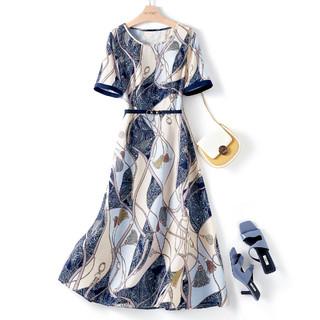 IHIMI 女款通勤时尚百搭气质显瘦链条腰带连衣裙