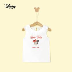Disney 迪士尼 童装儿童女童背心无袖T恤休闲洋气宽松薄款拼接透气短上衣汗衫2021夏 DB121CE01 本白 130