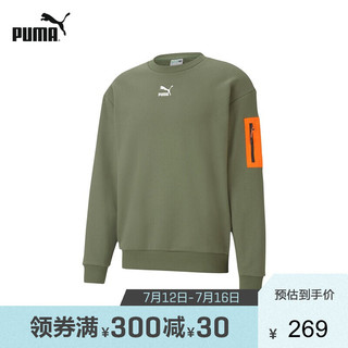 PUMA 彪马 官方 新款男子反光圆领卫衣INTERSTELLAR 530291 墨绿色-64  XL