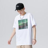 吴克群潮牌新款短袖男港风宽松印花纯棉男士T恤简约半袖 XL 白色