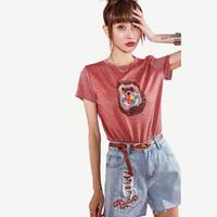 夏季新款潮ins趣味动物刺绣亮丝针织圆领弹力多色T恤女 S 红色