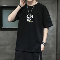 2021新款夏季百搭圆领男装衣服字母印花设计短袖男式t恤 3XL 黑色