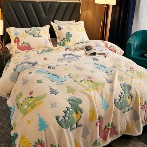 宜心巢 雪花绒毛毯秋冬薄被子珊瑚绒小毯子法兰绒床单办公室午睡毯毛巾被