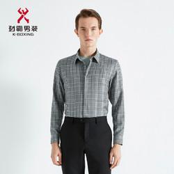 K-BOXING 劲霸男装 劲霸长袖衬衫男士春季格子羊毛高档衬衣|BAGG1701