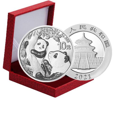 2021年熊猫银币30克  Ag999 送红盒