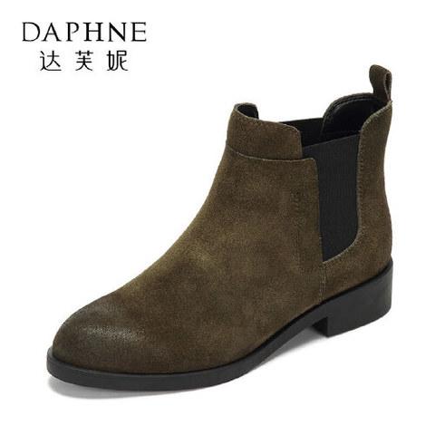 DAPHNE 达芙妮 Daphne/达芙妮女鞋冬舒适短靴 穿着轻便时尚欧美低跟简约女靴子-