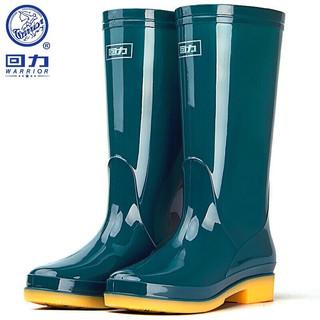 WARRIOR 回力 雨鞋女时尚户外中高筒防水雨靴水鞋防滑耐磨胶鞋 HXL813 墨绿高筒 38
