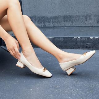 PACO GIL 2021春季新款真皮女鞋舒适粗中跟时尚金属链饰扣通勤小方头休闲单鞋女