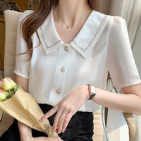 港味时尚刺绣方领雪纺衫女新款上衣21年设计感显瘦短袖衬衫女夏 S 白色