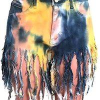 Rainbow Tie Dye Fringe 热裤性感牛仔长裤,女式短裤