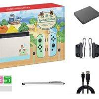 Nintendo 任天堂 Switch Animal Crossing: New Horizons Edition 32GB 控制台套装,淡*和蓝色 Joy-Con,6.2 英寸触摸屏液晶显示屏,家庭和节日礼品,W/ GM 14 合 1 Supper Kit Case