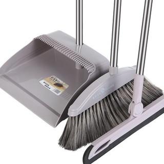 扫把簸箕套装软毛笤帚撮箕组合卫生间刮水器单个扫地扫帚 加长梳齿 浅灰两件套