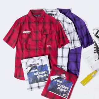 Semir 森马 夏季新款宽松寸衫印花上衣时尚衬衣青少年格纹短袖衬衫男