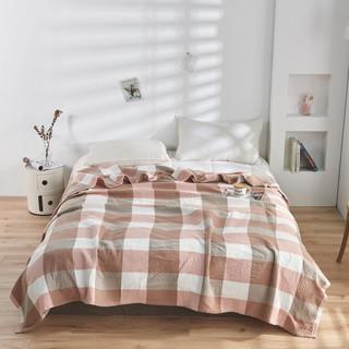 辰枫 家纺 毛巾被纯棉单人双人毯子夏季午睡全棉空调盖毯 豆沙 150*200cm