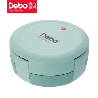 DEBO 德铂 Debo德铂马卡龙色304不锈钢饭盒可微波炉加热饭盒便携餐盒  草绿色