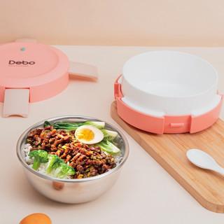 DEBO 德铂 京东plus:德铂马卡龙色304不锈钢饭盒可微波炉加热饭盒便携餐盒  玫瑰红色