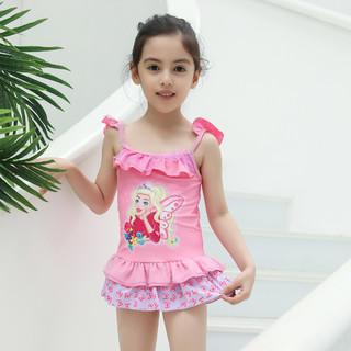 Barbie 芭比 儿童泳衣公主中大童连衣裙女童泳衣连体冲浪服防晒服