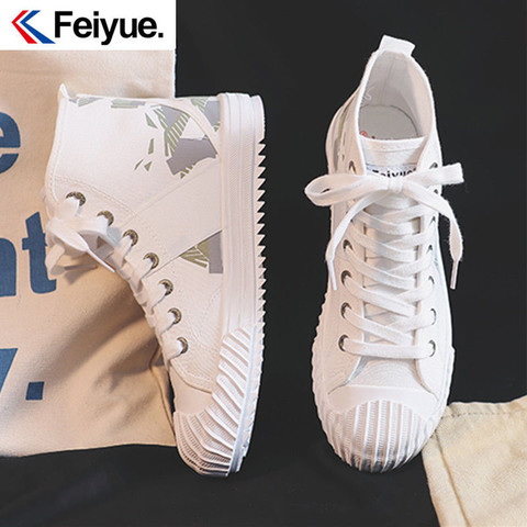 Feiyue/飞跃帆布鞋2021夏新款高帮工装鞋潮鞋迷彩时尚男女休闲鞋